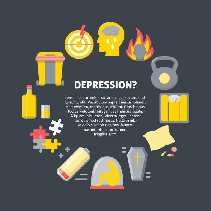 Modello dell'insegna di sintomi di depressione nello stile piano illustrazione di stock