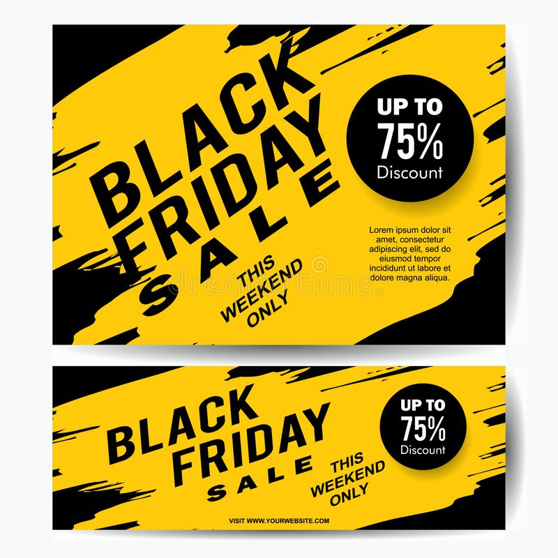 Modello dell'insegna di vendita di Black Friday con la spruzzata gialla dell'inchiostro royalty illustrazione gratis
