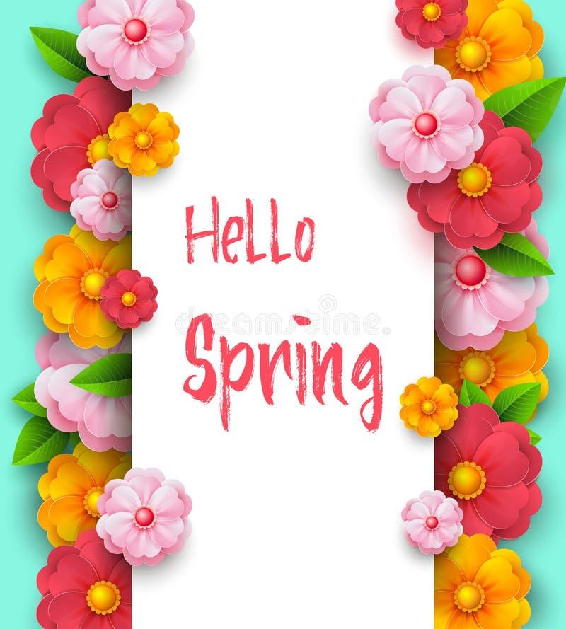 Modello dell'insegna di vendita della primavera con i colori vivi di carta su fondo variopinto Sconti stagionali Insegna di giorn illustrazione vettoriale