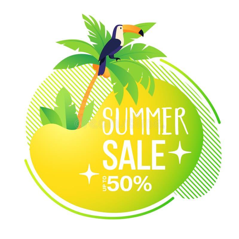 Modello dell'insegna di vendita di estate Estratto di estate, liquido, fondo con la palma e tucano divertente royalty illustrazione gratis