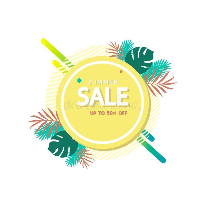 Modello dell'insegna di vendita di estate Fondo geometrico astratto di estate Contesto tropicale Distintivo di promo per la vostr illustrazione vettoriale