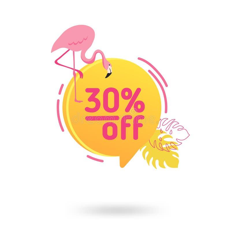 Modello dell'insegna di vendita di estate Fumetto geometrico astratto liquido con i fiori ed il fenicottero tropicali, contesto t illustrazione vettoriale