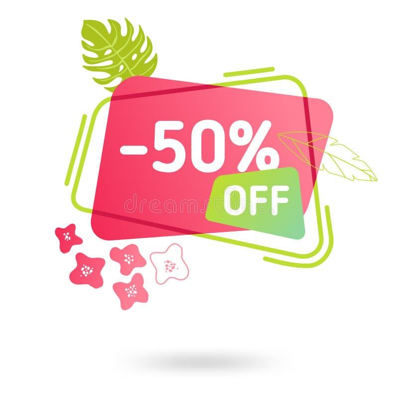 Modello dell'insegna di vendita di estate Fumetto geometrico astratto liquido con i fiori tropicali, contesto tropicale illustrazione di stock