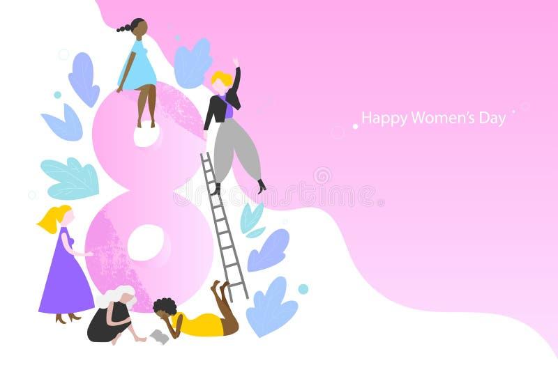 Modello dell'insegna di vettore di Giornata internazionale della donna royalty illustrazione gratis