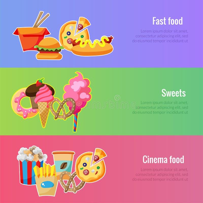Modello dell'insegna di vettore Illustrazione degli alimenti a rapida preparazione illustrazione vettoriale