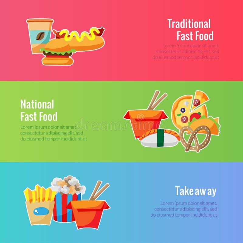 Modello dell'insegna di vettore Illustrazione degli alimenti a rapida preparazione illustrazione di stock