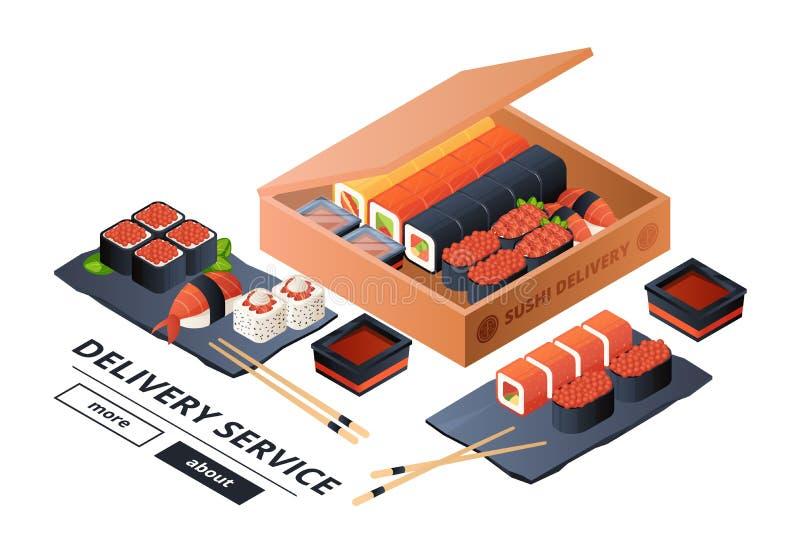 Modello dell'insegna di vettore di servizio di distribuzione dei sushi Sushi isometrici, cena asiatica per l'illustrazione due royalty illustrazione gratis