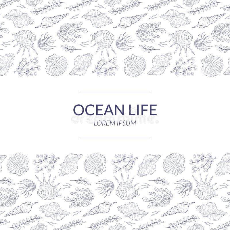 Modello dell'insegna di vita dell'oceano con il modello naturale subacqueo degli elementi, mondo subacqueo con il vettore delle c royalty illustrazione gratis