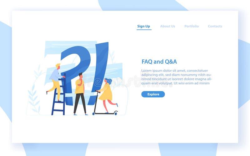 Modello dell'insegna di web con il punto gigante del punto interrogativo e di interrogazione e la gente minuscola FAQ, guida del  royalty illustrazione gratis