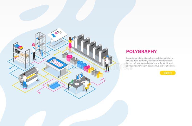Modello dell'insegna di web con la stamperia o centro di servizio di stampa con la gente che lavora con i tracciatori, stampatori illustrazione di stock