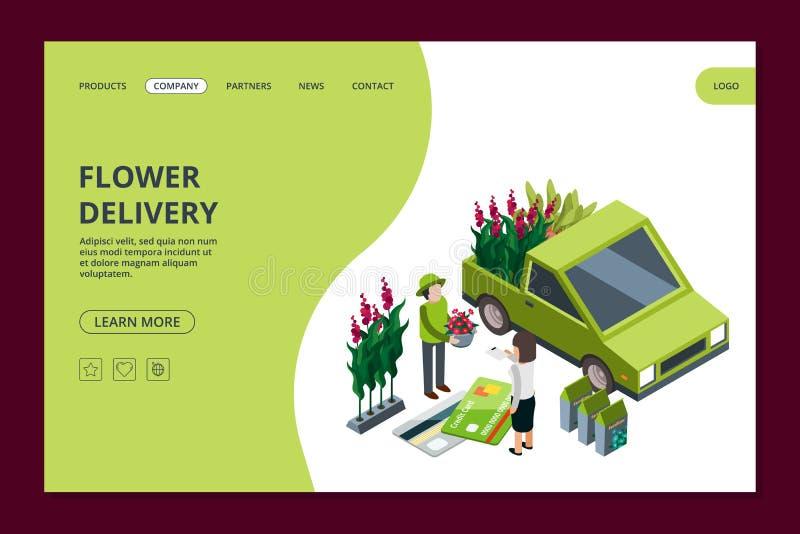 Modello dell'insegna di web di consegna del fiore Fiori isometrici e piante di vettore che atterrano pagina royalty illustrazione gratis