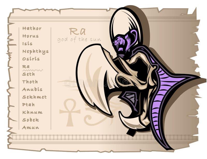 Modello dell'insegna per le magliette ed i tatuaggi sul tema dei egiziani antichi Il Ra è il dio di sole illustrazione vettoriale