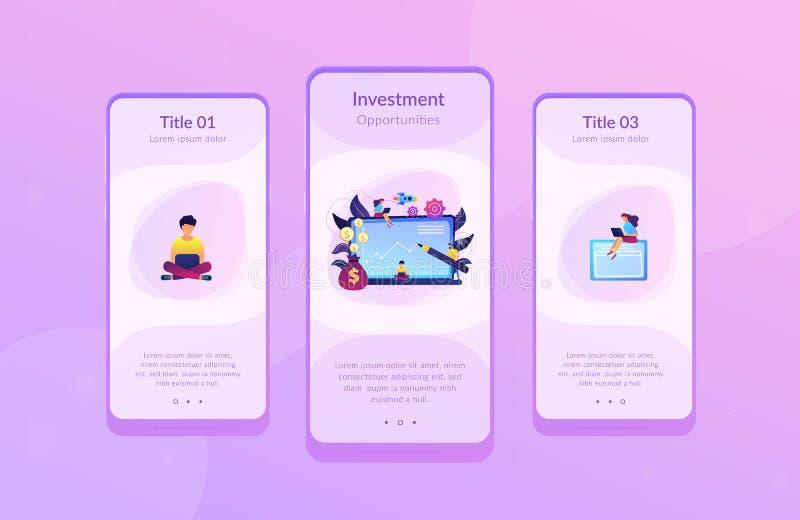 Modello dell'interfaccia del app del fondo di investimento illustrazione vettoriale