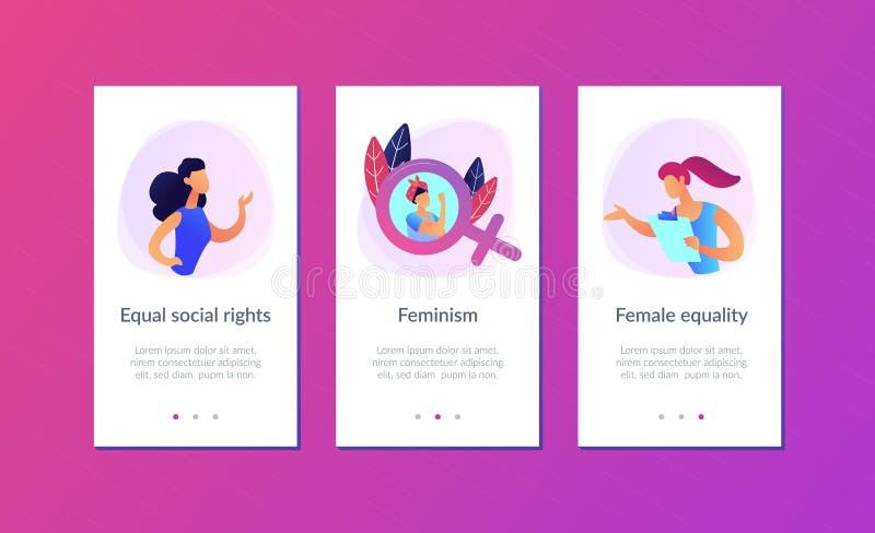 Modello dell'interfaccia di app di femminismo royalty illustrazione gratis