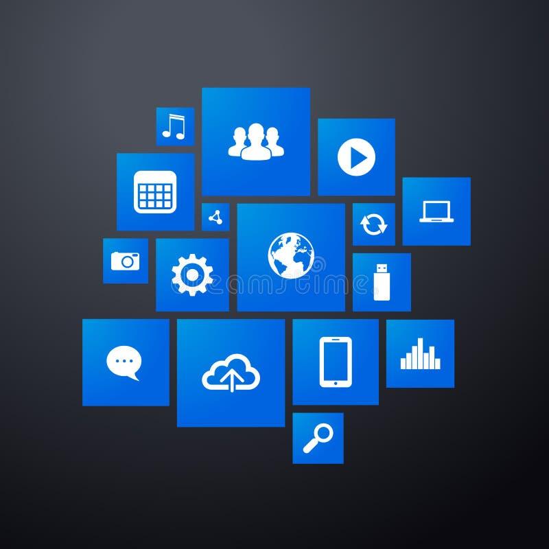 Modello dell'interfaccia di web con l'affare moderno e le icone sociali di media royalty illustrazione gratis