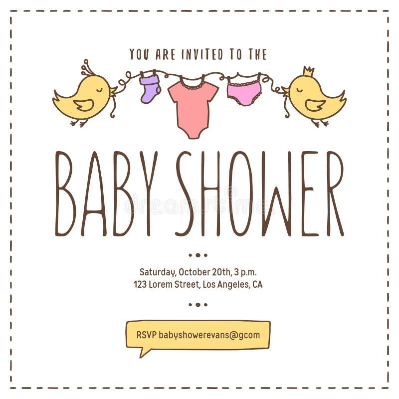 Modello dell'invito della doccia di bambino Illustrazione d'annata disegnata a mano royalty illustrazione gratis