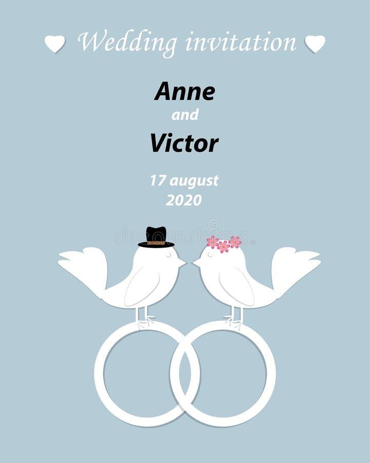 Modello dell'invito di nozze con un paio degli uccelli, della sposa e del g illustrazione vettoriale