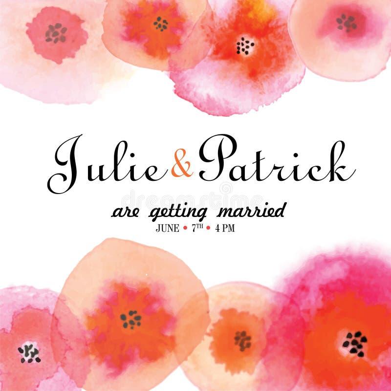 Modello dell'invito di nozze decorato con i fiori dell'acquerello illustrazione di stock