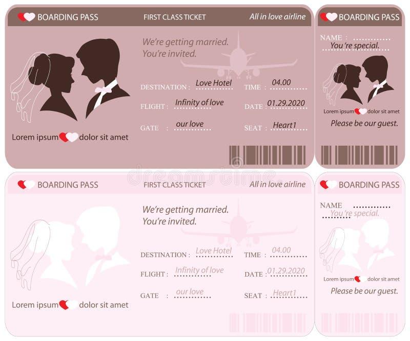 Modello dell'invito di nozze del biglietto del passaggio di imbarco illustrazione vettoriale
