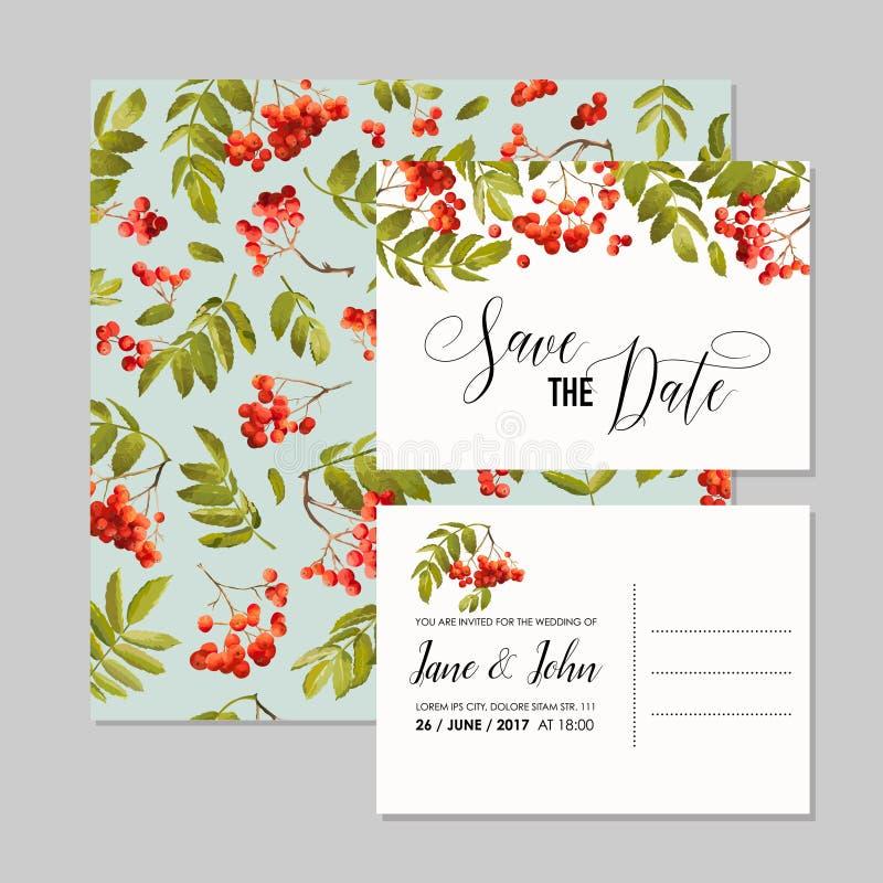 Modello dell'invito di nozze Risparmi floreali le carte di data con Rowan Berry Fondo della decorazione per la celebrazione del p illustrazione vettoriale