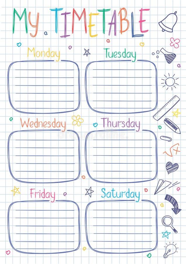 Modello dell'orario della scuola sullo strato del libro della copia con il testo scritto della mano illustrazione vettoriale