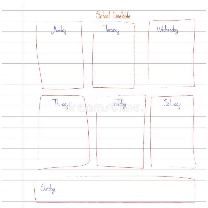 Modello dell'orario della scuola sullo strato del libro della copia con il testo scritto della mano Shedule settimanale di lezion illustrazione vettoriale