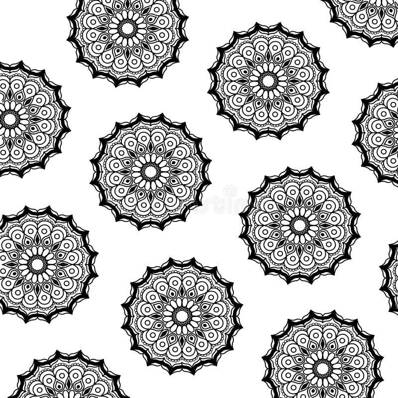 Modello dell'ornamento decorativo d'annata della siluetta dell'estratto della mandala nera del fiore royalty illustrazione gratis