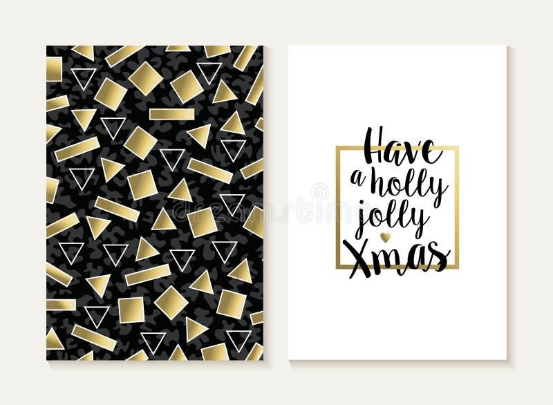 Modello dell'oro 80s dell'insieme di carta di Buon Natale retro illustrazione di stock