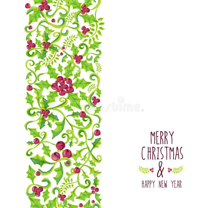Modello della bacca dell'agrifoglio dell'acquerello di Buon Natale royalty illustrazione gratis