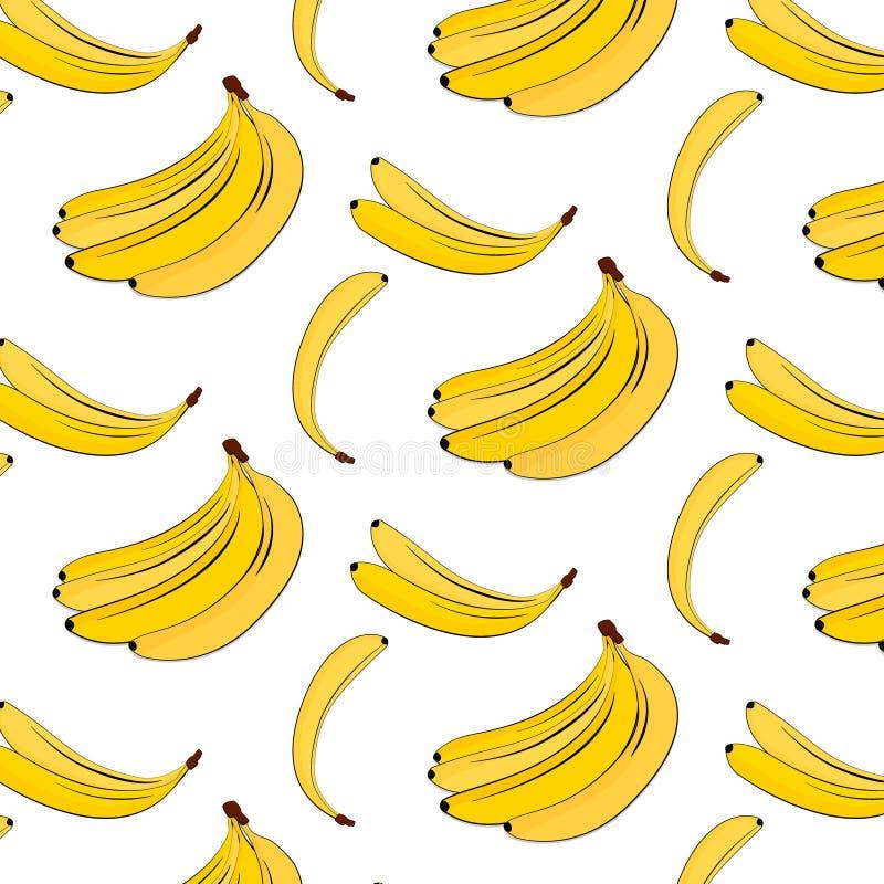 Modello della banana di vettore Fondo variopinto della pianta gialla di estate Stampa naturale tropicale della frutta della banan illustrazione vettoriale