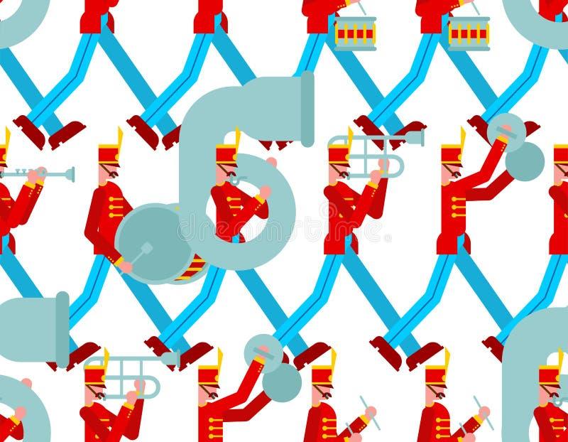 Modello della banda militare senza cuciture Soldati con gli strumenti musicali uomo arruolato e tamburo e trombone illustrazione vettoriale