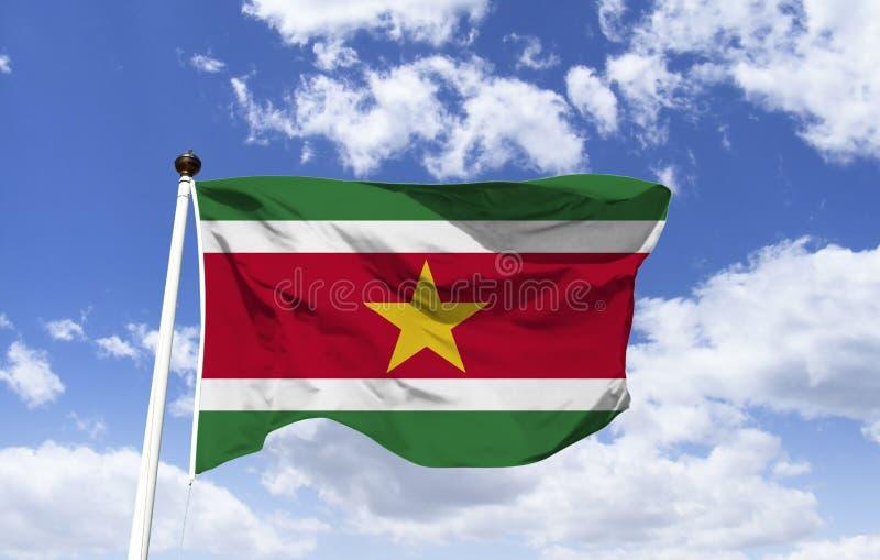 Modello della bandiera del Surinam che fluttua sotto il cielo blu fotografia stock