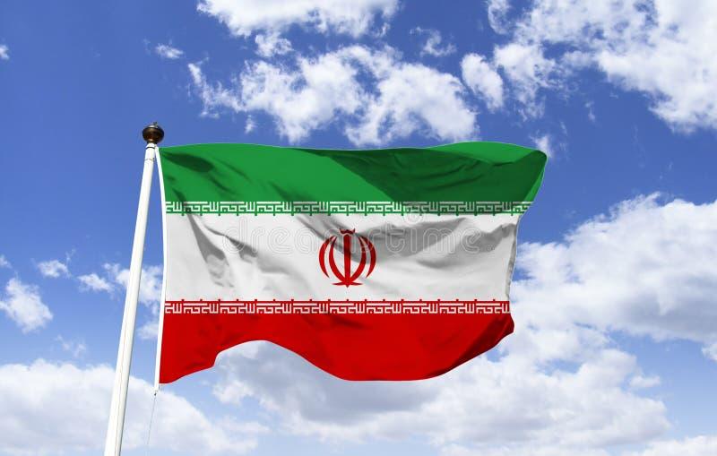 Modello della bandiera dell'Iran sotto un cielo blu illustrazione vettoriale