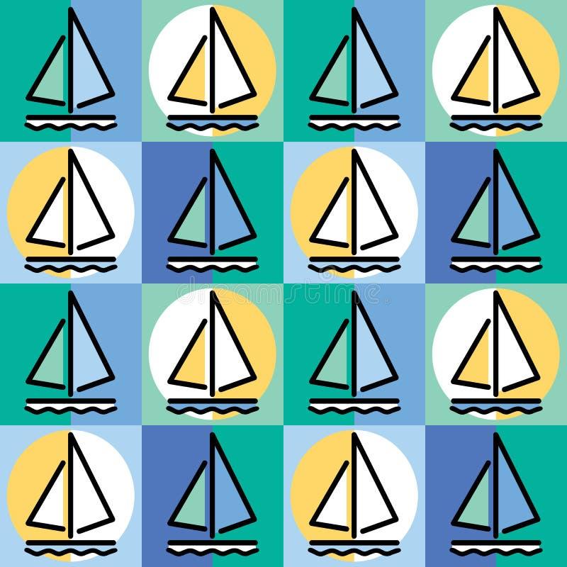 Modello della barca a vela illustrazione vettoriale