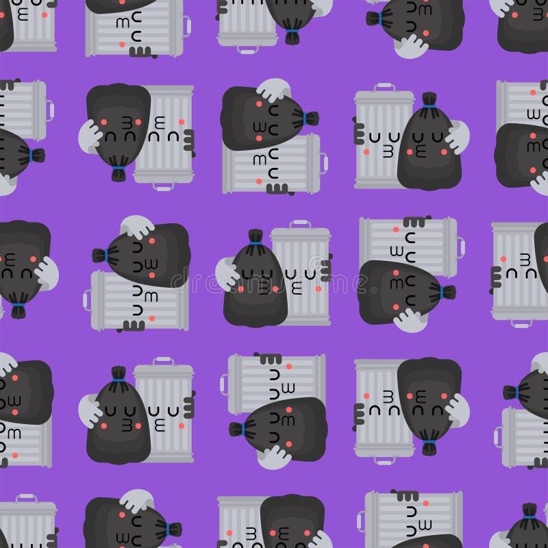 Modello della borsa di immondizia e di cestino senza cuciture Pattumiera e fondo nero del sacco Rifiuti ormanent Struttura di vet illustrazione vettoriale