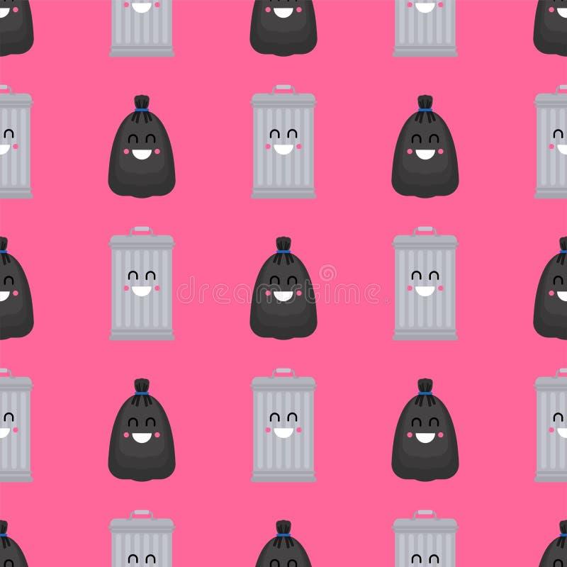 Modello della borsa di immondizia e di cestino senza cuciture Pattumiera e fondo nero del sacco Rifiuti ormanent Struttura di vet royalty illustrazione gratis