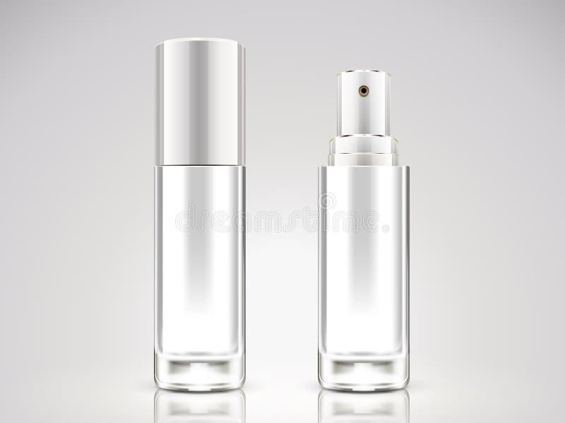 Modello della bottiglia dello spruzzo del bianco perla illustrazione di stock