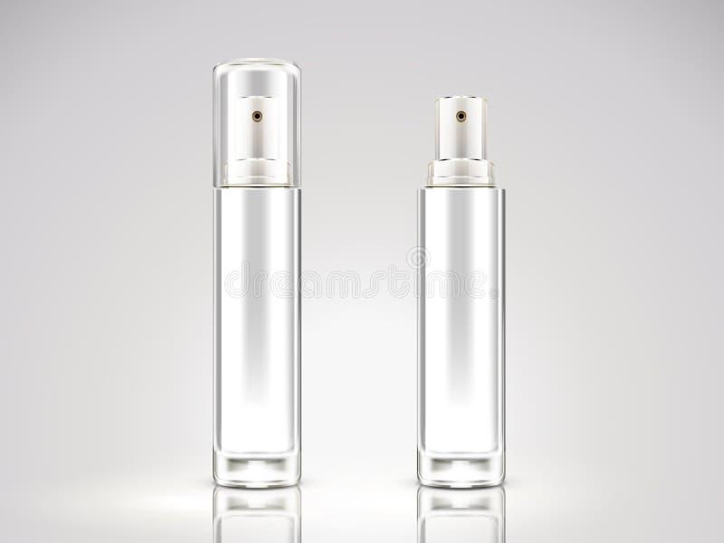 Modello della bottiglia dello spruzzo del bianco perla illustrazione vettoriale
