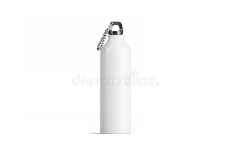 Modello della bottiglia di sport del metallo bianco dello spazio in bianco, vista frontale isolata e royalty illustrazione gratis