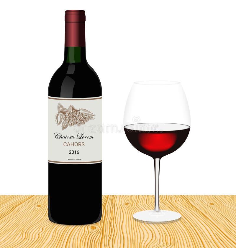 Modello della bottiglia di vino rosso con vetro fatto in uno stile realistico Fondo bianco e di legno Uva disegnata a mano sull'e illustrazione di stock