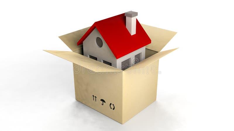 Modello della Camera in una scatola di carta illustrazione di stock