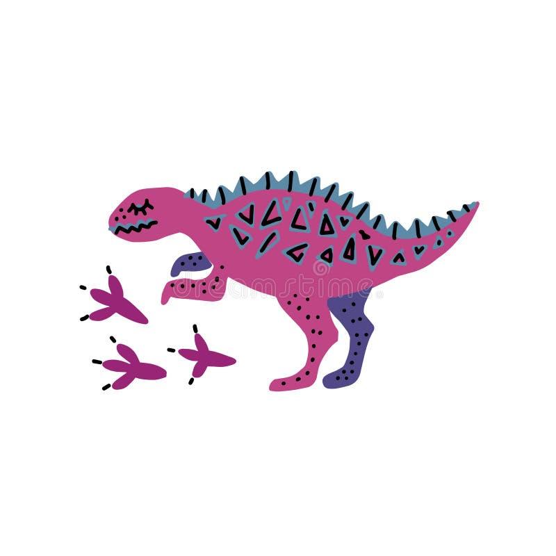 Modello della carta con Dino sveglio Grafico scandinavo disegnato a mano per il manifesto di tipografia, carta, etichetta, opusco illustrazione di stock