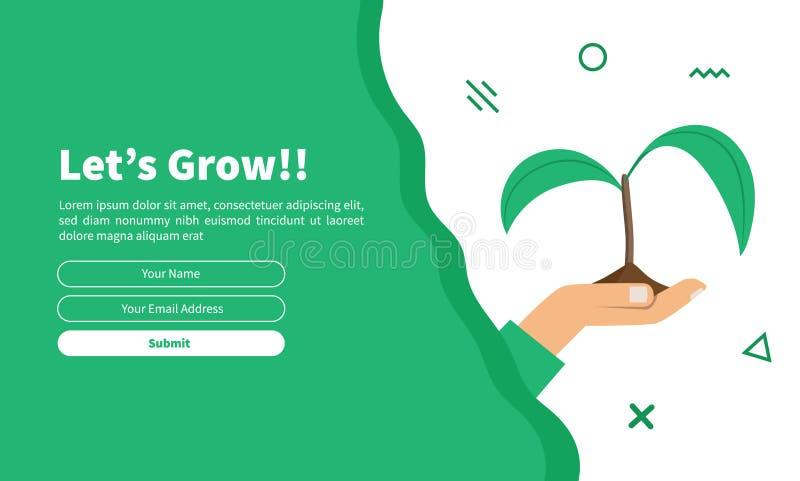 Modello della carta con la piuma verde decorativa per web design royalty illustrazione gratis