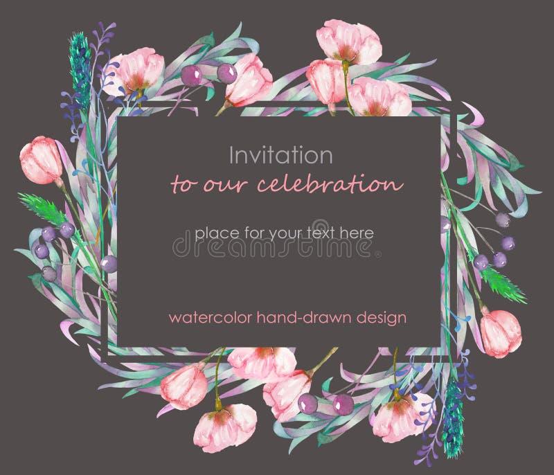 Modello della carta con la progettazione floreale; bacche, fiori della molla e foglie disegnati a mano in un acquerello; decorazi illustrazione di stock