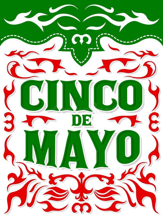 Modello della carta del manifesto di vettore di Cinco de Mayo, festa messicana tradizionale illustrazione di stock