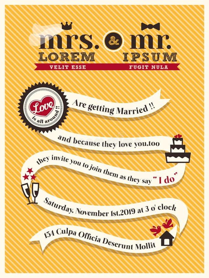 Modello della carta dell'invito di nozze illustrazione di stock