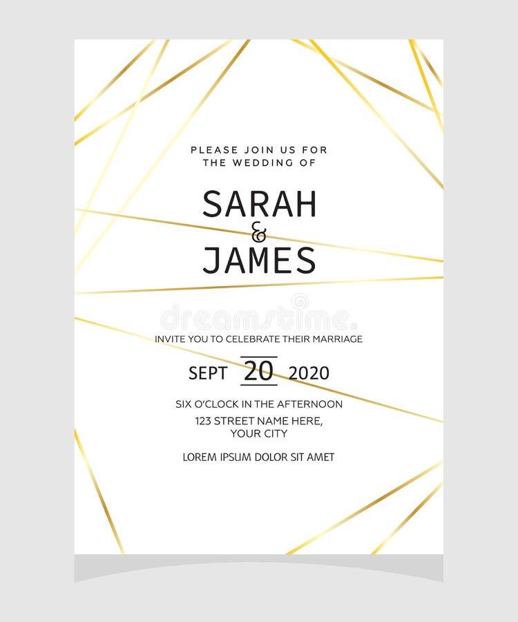 Modello della carta dell'invito di nozze con il fondo floreale del fiore di colore di rame Invito di cerimonia nuziale Salvo la d illustrazione vettoriale