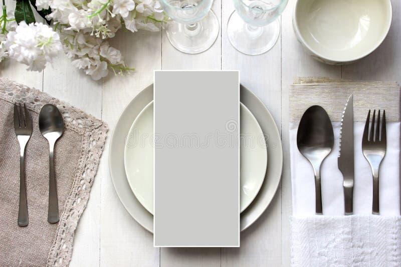 Modello della carta della Tabella, modello del menu Fotografia di moda d'annata fotografie stock libere da diritti