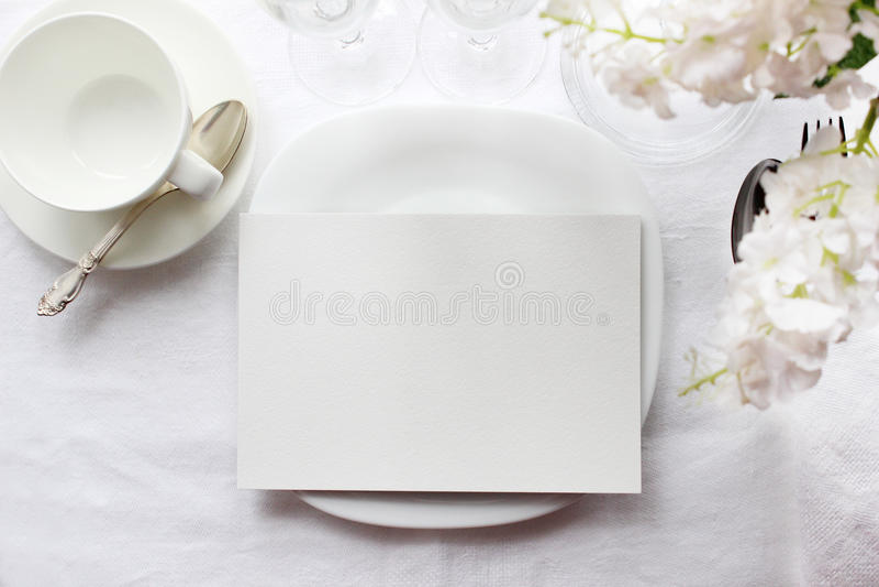 Modello della carta della Tabella, modello del menu Fotografia di moda di nozze immagini stock libere da diritti