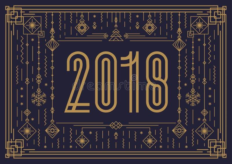 Modello della carta di Buon Natale con il segno 2018 e lo stile di art deco dell'oro del giocattolo del nuovo anno royalty illustrazione gratis